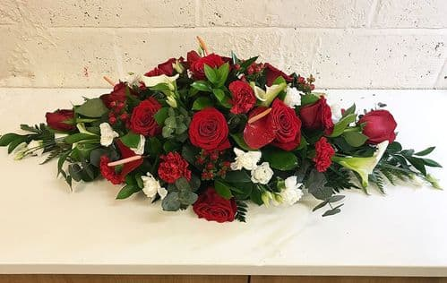 Red & White Funeral Spray