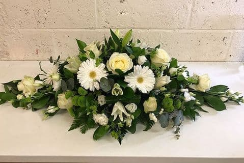 White Double Ended funeral Spray