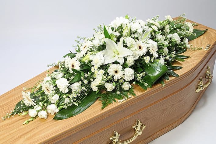White Funeral Coffin Spray