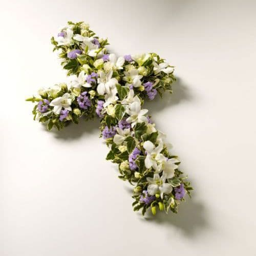 White & Lilac Funeral Cross