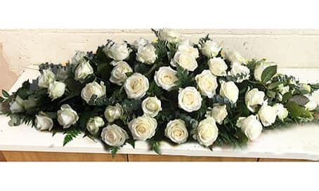 White Roses Funeral Coffin Spray