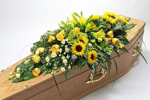 Yellow Funeral Coffin Spray