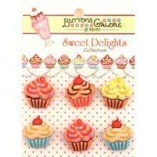 Buttons Galore - Sweet Delights - Cupcakes