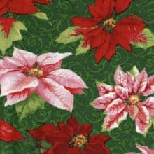 CHRISTMAS POINSETTIAS HOLIDAY FINERY  BY S.S.I. COTTON