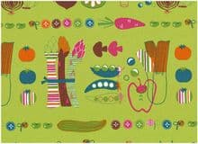JAPANESE IMPORT COSMO TEXTILES  PRINTED COTTON OXFORD - Scandinavia Style - Veggies  ONLY £3.50 HALF YARD
