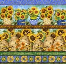 QUILT PANEL SPX - SUNNY BLOSSOMS BORDER PRINT  PREMIUM 100%COTTON QUILTING 2 STRIPS PER PANEL