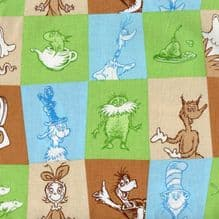 ROBERT KAUFMAN  DR SEUSS WONKY SQUARES [PREMIUM 100% COTTON QUILTING FABRIC ONLY £4,50 PER HALF YARD