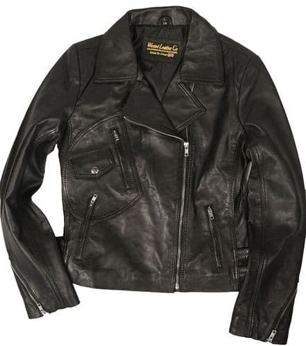 2588 Black or Tan Ladies Fashion Biker Jacket with Unique Pockets in Soft Lambskin