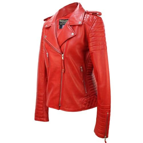 LADIES  LEATHER JACKET CLASSIC BIKER STYLE