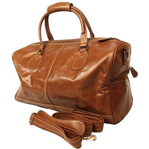 Leather Holdall Travel bag in Tan or Chestnut