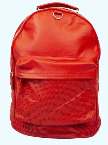 NEW LARGE BRIGHT RED BACKPACK COWHIDE STYLISH DUFFLE TRAVEL GYM REAL GENUINE LEATHER BAG