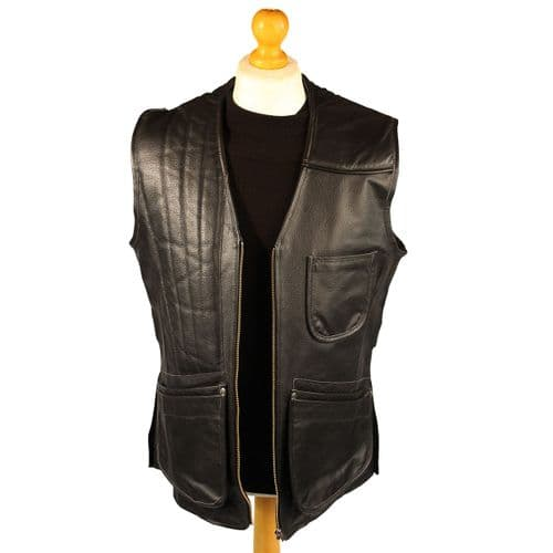 Skeet/Shooting Vest in Full BLACK Cow Hide - Available in LEFT and RIGHT!