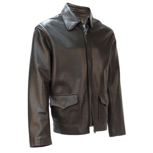 Temple of Doom Jacket in Brown Lambskin Authentic Indiana Jones