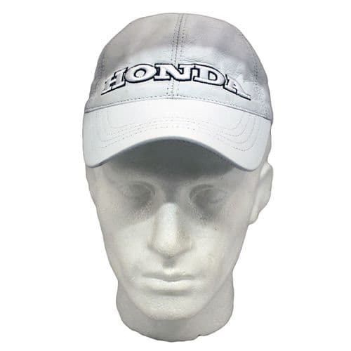 White Leather Baseball Cap  Honda inspired