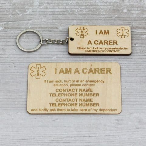 Carer Keyring + Card - Two Contacts