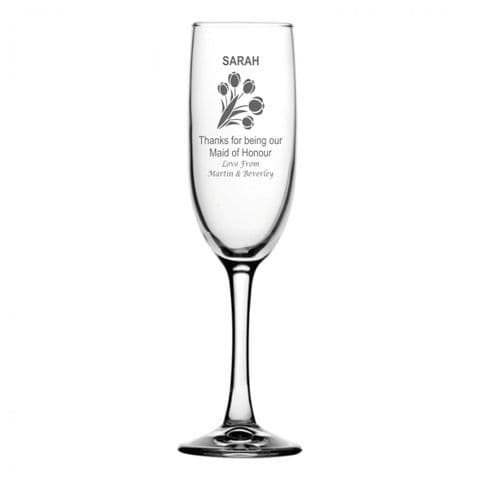 Personalised Champagne Flute - Maid Of Honour Bouquet