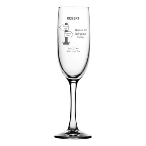 Personalised Champagne Flute - Usher Signpost