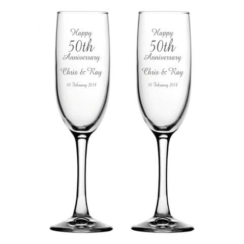 Personalised Champagne Flutes - Anniversary