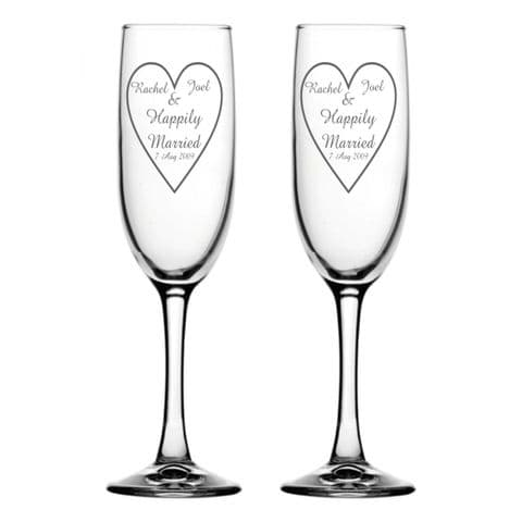 Personalised Champagne Flutes - Happily Married