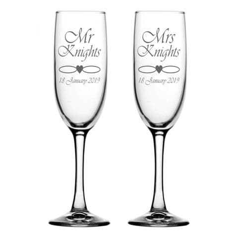 Personalised Champagne Flutes - Heart And Rings