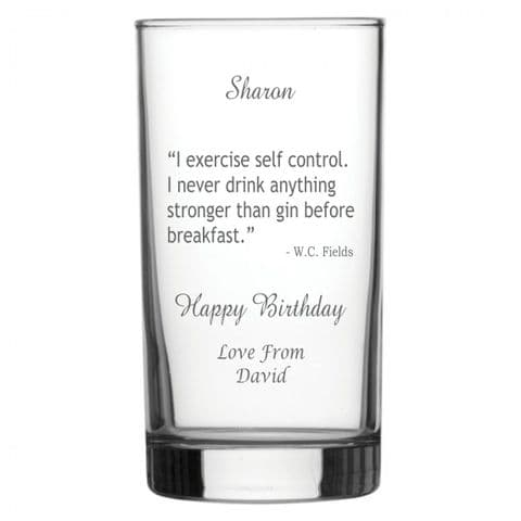 Personalised Hiball Glass - Gin Quote