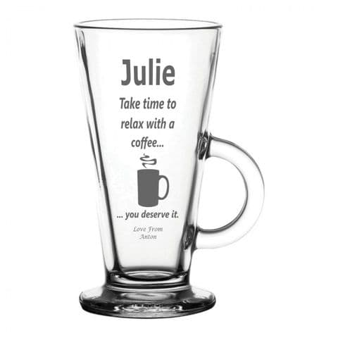 Personalised Latte Glass - Relax Coffee