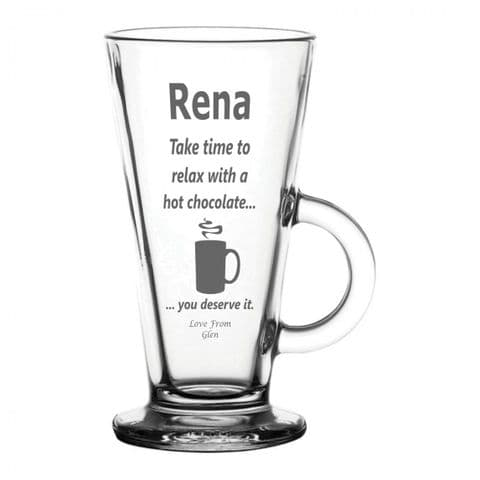 Personalised Latte Glass - Relax Hot Chocolate