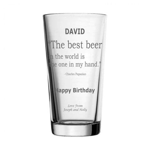 Personalised Pint Glass - Best Beer Quote