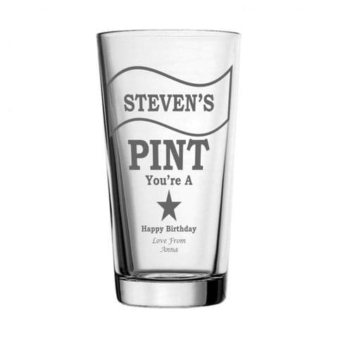 Personalised Pint Glass - You're A Star