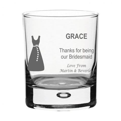 Personalised Whisky Glass - Bridesmaid Dress
