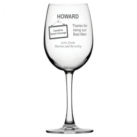 Personalised Wine Glass - Best Man Dutch Courage
