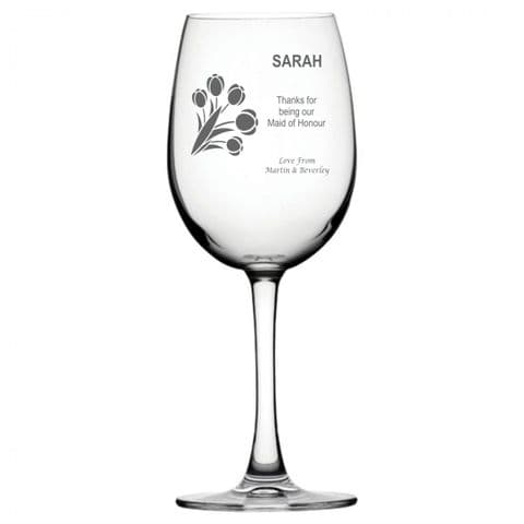 Personalised Wine Glass - Maid Of Honour Bouquet
