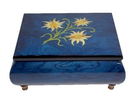 Blue Edelweiss Inlaid Musical Jewellery Box MAD415ELBLL