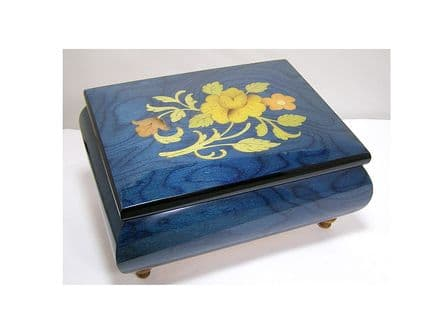 Blue Floral Musical Jewellery Box MAD415FLBLL