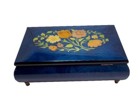 Blue Musical Jewellery Box With Floral Inlay MAD420FLBLL