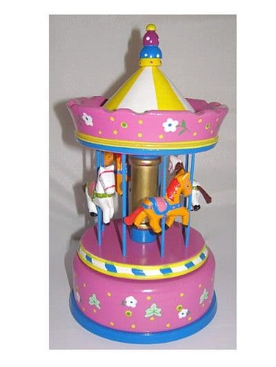 Large hand painted wooden carousel with musical movement