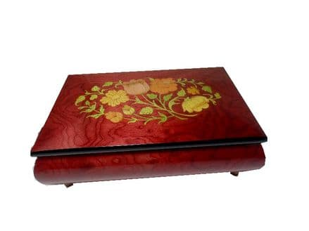 Rose Red Floral Inlay Musical Jewellery Box MAD420FLRDL