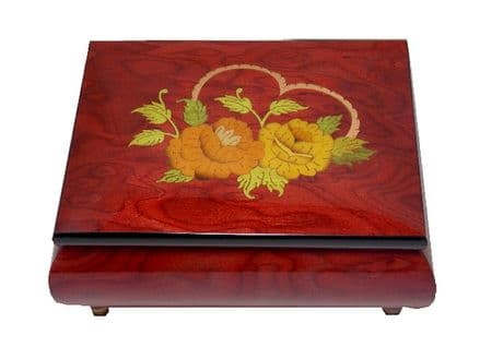 Rose Red Heart and Roses Design Musical Jewellery Box MAD415HLRDL