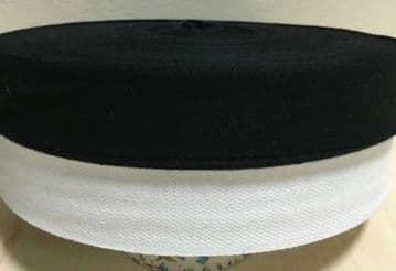 25mm (1inch) COTTON TAPE for BUNTING, APRON ETC ~FULL 50 METER ROLL- BLACK/WHITE