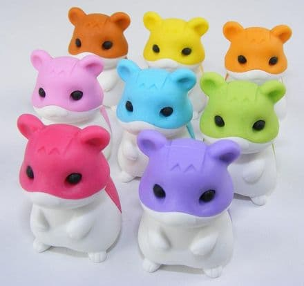 IWAKO NOVELTY ERASERS / RUBBERS - SET OF 8 HAMSTERS