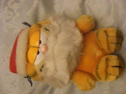 "Vintage 8"" Santa Garfield plush toy 80's"