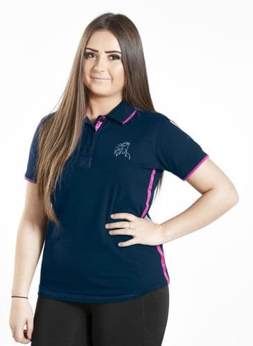 ** LIMITED EDITION ** Firefoot  Childrens Crofton Polo Shirt - Navy / Pink