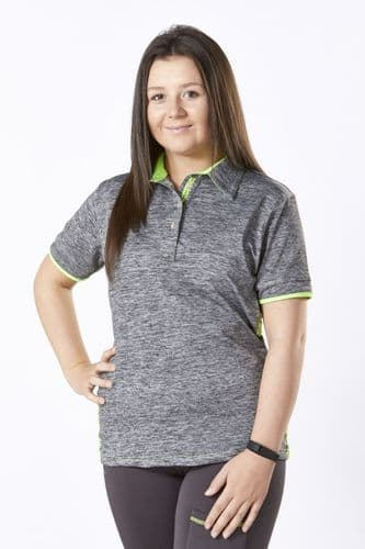 ** LIMITED EDITION ** Firefoot  Childrens Crofton Sport Polo Shirt - Grey Marl / Lime