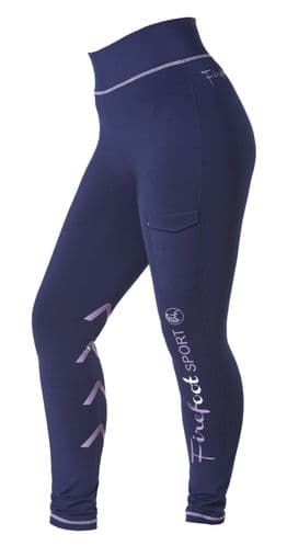 ** NEW FOR 2021 ** -  Firefoot Kids Ripon SPORT Stretch Breeches, Navy / Lilac