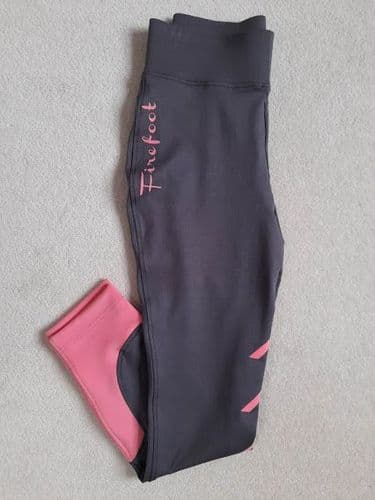 """** SAMPLE ** Firefoot Ladies Sticky Bum Ripon Stretch Breeches, Charcoal/Pink, 28"""" (UK10)"""