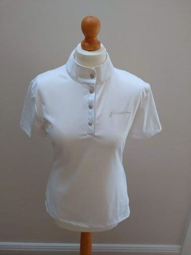 ** SECOND ** John Whitaker Bling Performance Competition Polo, White, Large