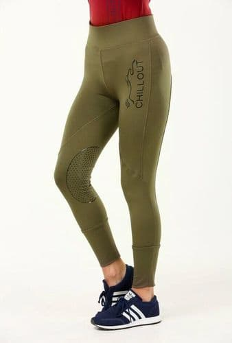 Chillout Horsewear Silicone Knee Technical Sports Leggings, Olive.