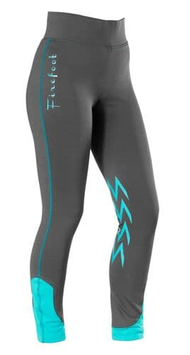 Firefoot Ladies Fleece Lined Winter Ripon Stretch Breeches, Charcoal Grey/Teal