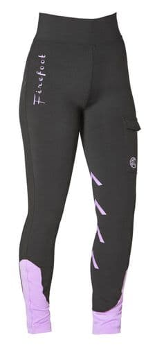 Firefoot Ladies Ripon Stretch Breeches with Pocket, Black/Lilac - 20% OFF RRP