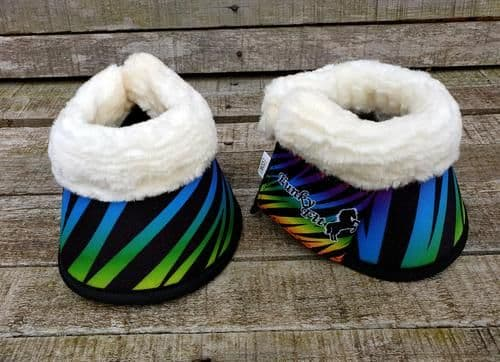 Funky Fit Equestrian Over Reach Boots, Rainbow Zebra